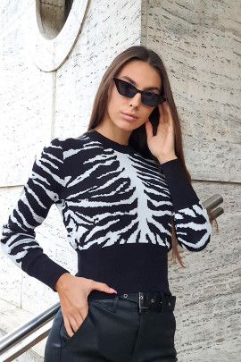 Pulover Zebra biely
