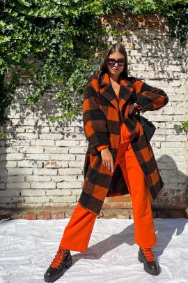Kabát Caroline oranžovo-čierny