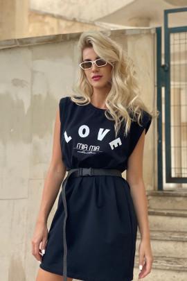 Šaty LOVE čierne lodičkové
