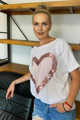 Tričko Srdce ružové