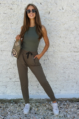Tepláky Carol khaki zelené