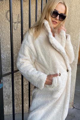 Kabát Teddy biely